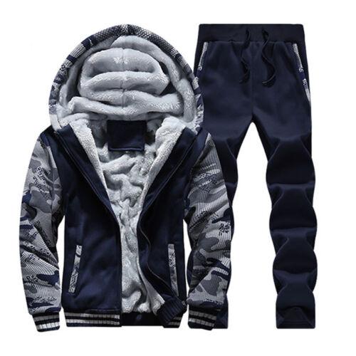 Mens Tracksuit Warm Fleece Sport Hooded Sweatshirt Coat Hoodies+Pants Sweat Suit