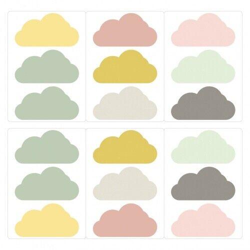 Wandtattoo Wolken Altrosa mint grau Set Kinderzimmer Deko