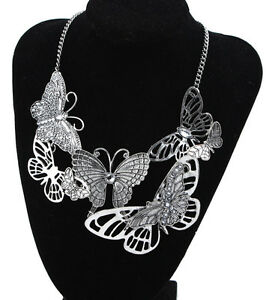 Retro-Women-Butterfly-Charm-Bib-Statement-Chocker-Necklace-Pendant-Chain-Jewelry