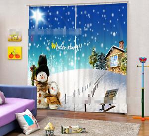 3D Nieve Invierno 4 Cortinas de impresión de cortina de foto Blockout Tela Cortinas Ventana Reino Unido
