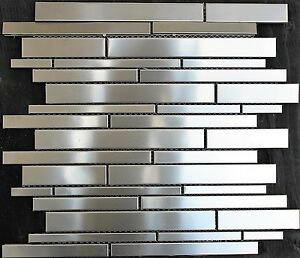 Random stacked stainless steel mosaic tile metal silver for Dimensional tile backsplash