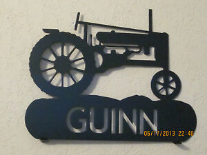 OLD TRACTOR MAILBOX TOPPER STEEL TEXTURED BLACK POWDER COAT FINISH YOUR NAME