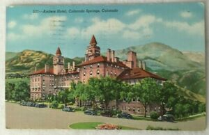 Postcard-CO-Colorado-Springs-Colorado-Antlers-Hotel-Posted-1942-Old-Cars-Sanborn