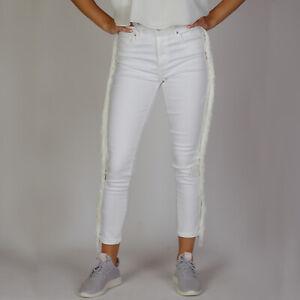 Levi-s-721-High-Rise-Skinny-Weiss-Damen-Jeans-mit-seitlicher-Quaste-Groesse-27