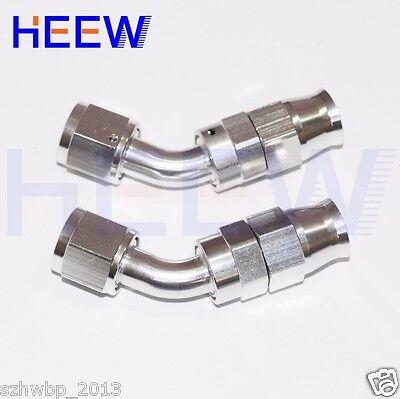 6AN AN6 45 Degree Swivel Teflon PTFE E85 Stealth Fuel Line Hose fittings Silver