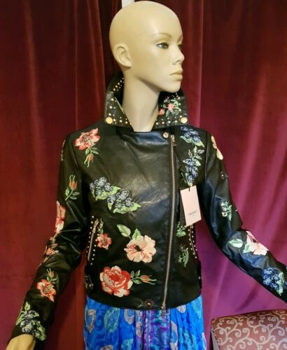 TWIN SET imitation leather jacket WOMENS FLORAL EMBROIDERY zips studs 6 8