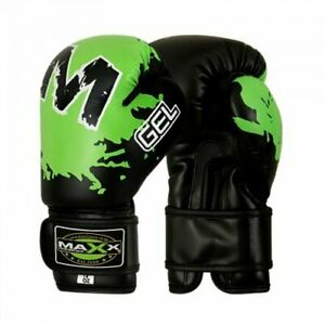 Maxx Boxing Gloves Fight PunchBag Gel Shock Junior Leather MMA Muay Thai Pad Ufc
