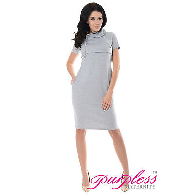 Purpless Maternity New Nursing Breastfeeding Funnel Neck Short Sleeve Dress 6225