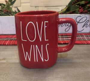 Rae Dunn - Magenta - LL LOVE WINS - Red Ceramic Coffee Tea Mug - Valentine