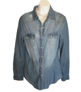 Pearl Snap Denim Shirt Blouse Size M Medium Western Top Ali & Kris Jean Cotton