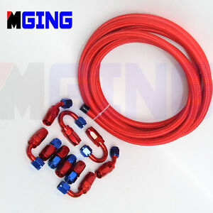 AN6-6AN-Stainless-Nylon-Steel-Braid-Oil-Fuel-Line-Hose-End-Fitting-Adapter-5M
