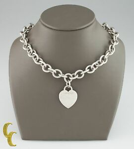 Tiffany Co 925 Sterling Silver Blank Heart Tag Charm Necklace Ebay