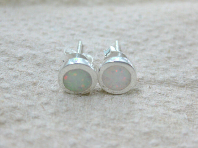 925 STERLING SILVER SMALL ROUND CR OPAL BLUE GREEN BLACK WHITE STUDS EARRIN