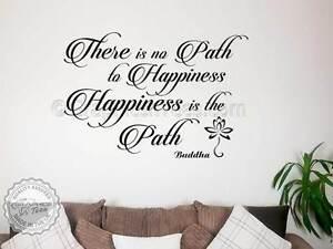 Détails Sur Bouddha Inspirant Autocollant Mural Citation Bonheur Est Le Chemin De Motivation Decal Afficher Le Titre D Origine