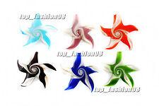 FREE Wholesale Pretty 6pcs Animal starfish Lampwork Glass Pendants DIY Necklace