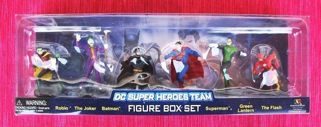 DC SUPER HEROES TEAM, 6 FIGURE SET (BATMAN, SUPERMAN, JOKER, FLASH..). BRAND NEW