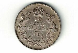 CANADA-1933-TEN-CENTS-DIME-KING-GEORGE-V-800-SILVER-COIN-CANADIAN