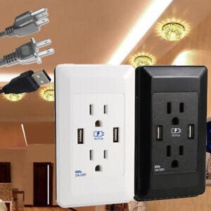 USA-Double-Port-USB-Prise-Murale-Chargeur-AC-Power-Recipient-Outlet-Plaque-Panneau-Lot