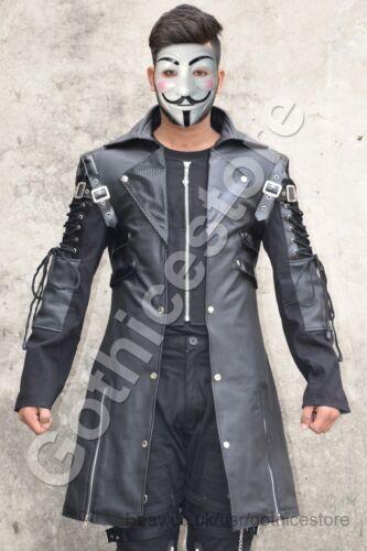 Men Black Gothic Jacket Steampunk Military Faux Leather Coat Jacket