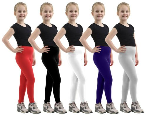GIRLS COTTON LEGGINGS Full Length High Quality All Ages Children Kids Party Pant