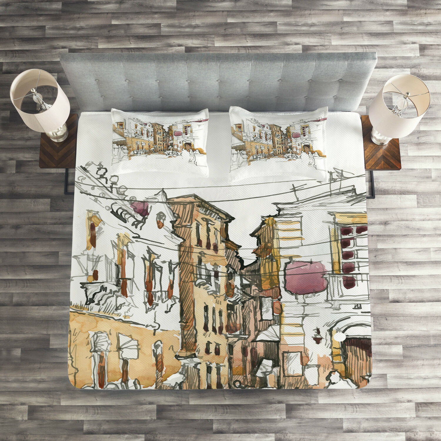Modern Quilted Coverlet & Pillow Shams Set, Sketchy Street Art View Print