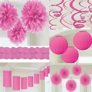Party Deko Pink Rosa Papier Laterne Facher Girlande Pompom Hochzeit