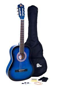 Rio-3-4-Junior-debutant-classique-guitare-acoustique-Pack-Paquet-tenue-bleu