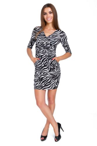 Ladies Mini Dress Zebra /& Panther Patterns Women V Neck Tunic with Pockets 8949