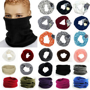 Womens-Winter-Snood-Neck-Warmer-Fleece-Knitted-Pocket-Scarf-Scarves-Shawl-Cowl
