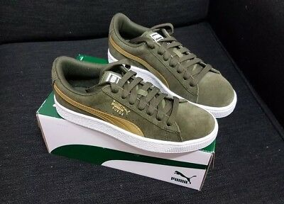 Puma Suede Metallic Shoes Youth Us 5 Womens Us 6.5 Olive Gold White Brand New 4059504211005 | eBay
