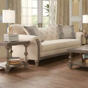 Image Is Loading Beige Sofa Tufted Wood Trimmed Linen Upholstered Couch