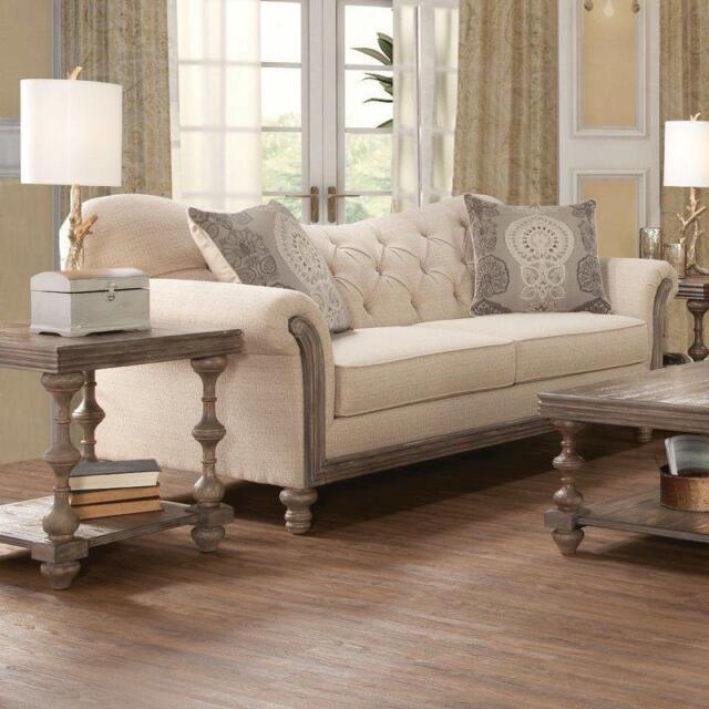 Beige Sofa Tufted Wood Trimmed Linen