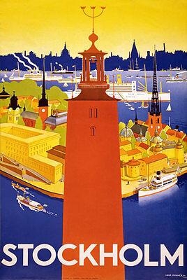 TW98 Vintage Stockholm Sweden Swedish Travel Poster Re-Print A1/A2/A3