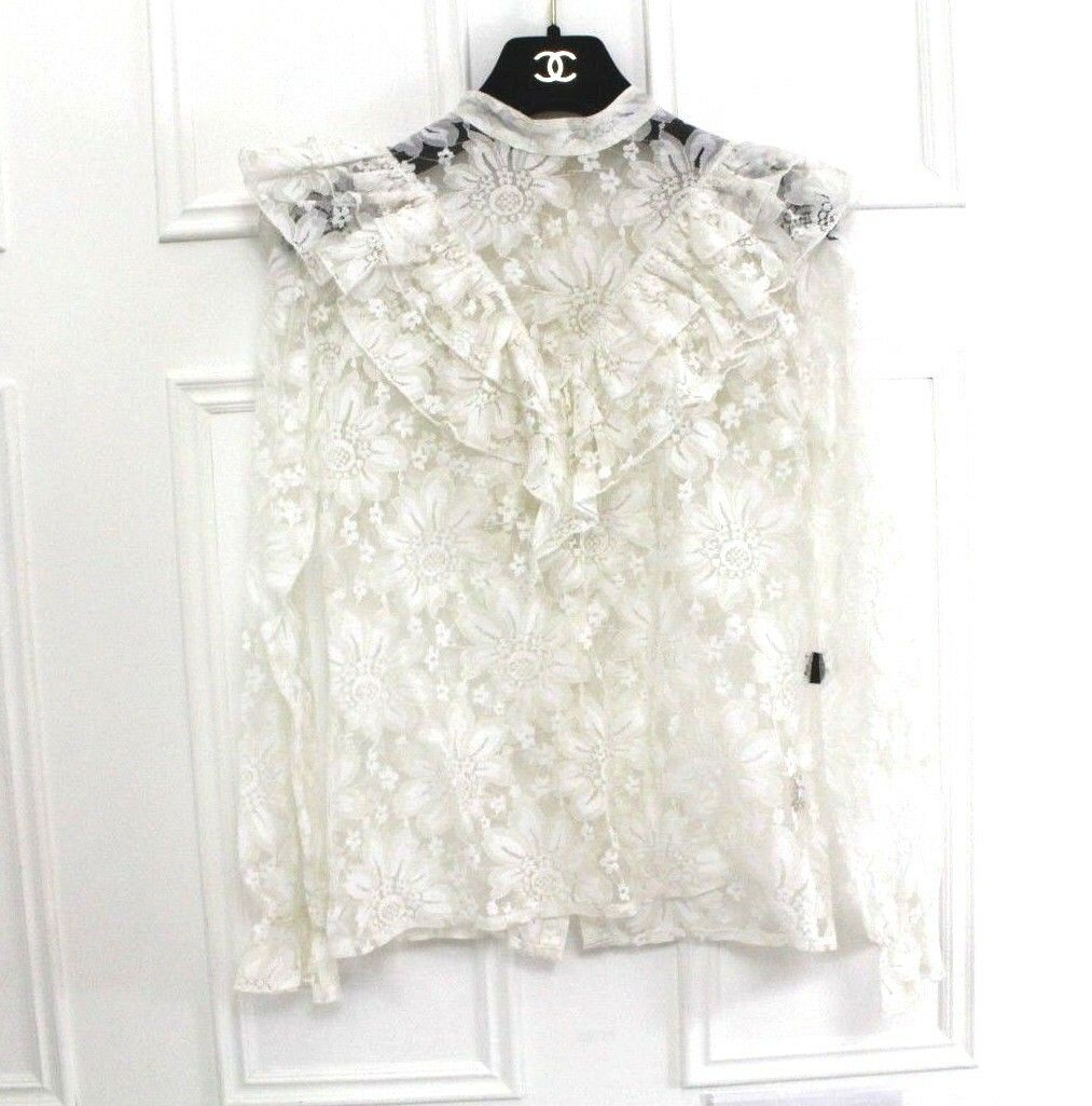 Biba Vtg 70's Lace Gothic Victorian Steampunk Sheer Floral Ruffle Blouse 10