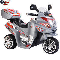 3 Wheels Kids Ride On Motorcycle Battery Powered Electric Toy Power Bicyle Gray