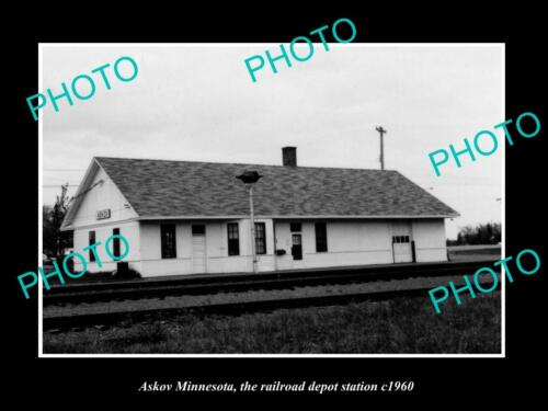 OLD 6 X 4 HISTORIC PHOTO OF ASKOV MINNESOTA, THE RAILROAD DEPOT STATION c1960
