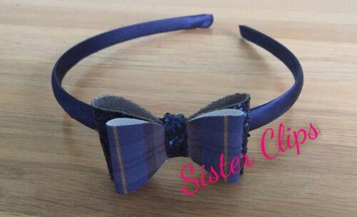 Handmade School blue gingham /& navy glitter bow hair Alice band