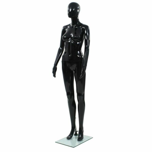 vidaXL Manichino Donna Figura Intera Base in Vetro 175 cm Nero Lucido Modello