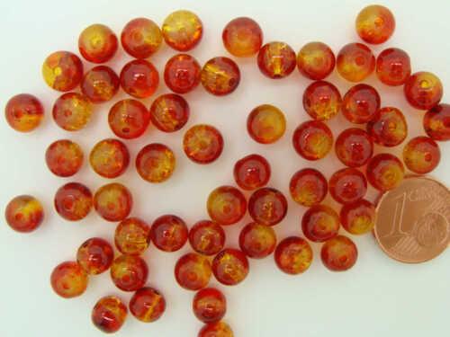 60 perles rondes 6mm verre CRAQUELE Marron Orange DIY création bijoux