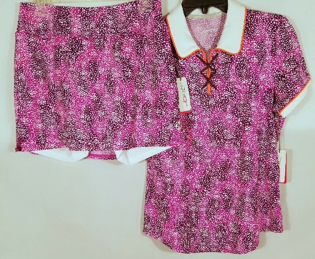 Jofit Skort and Shirt - Speckle Print - Tipped Corded Polo - Mina Shorts NWT Sm