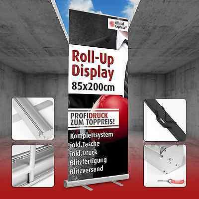 Roll up Display Banner Display mit Druck 85 x 200 cm inkl Tragetasche & Gestell