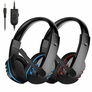 For PS4 Xbox Tablets TV PC Stereo Bass 3.5mm Wired Gaming Headset Blue/Red w/Mic