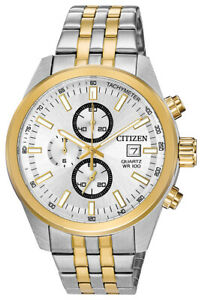 Citizen Quartz Men's Chronograph Multi Dial Gold Two Tone 43mm Watch AN3624-51A