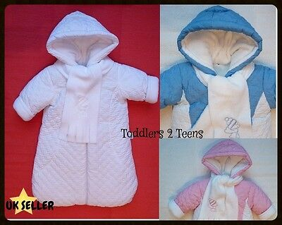 Baby Unisex Boy Girl White Snowsuit Footmuff Buggy Snuggle Winter Warm 3 6 9 m
