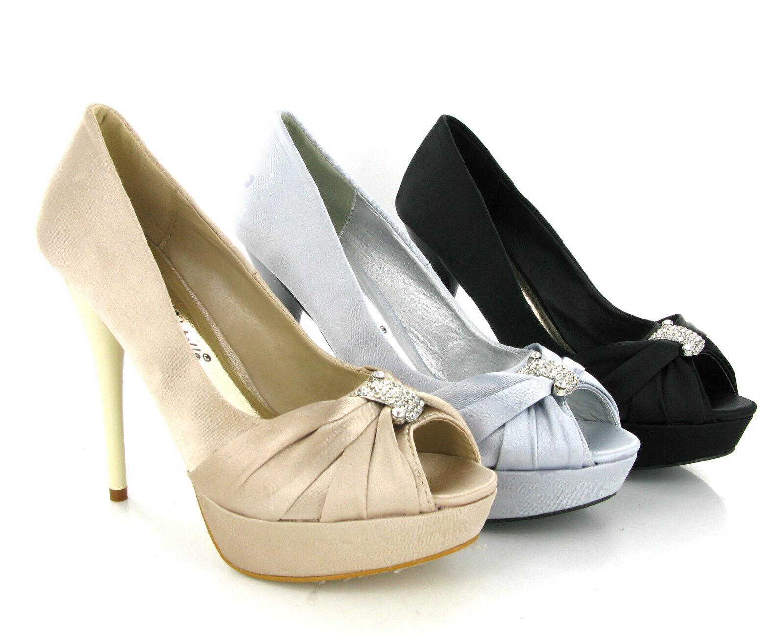 Anne Michelle talon haut plateforme satin bout ouvert femmes sandales uk3-8