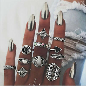 10PCS-Gothic-Women-Lady-Boho-Vintage-Silver-Gold-Punk-Knuckle-Finger-Midi-Rings