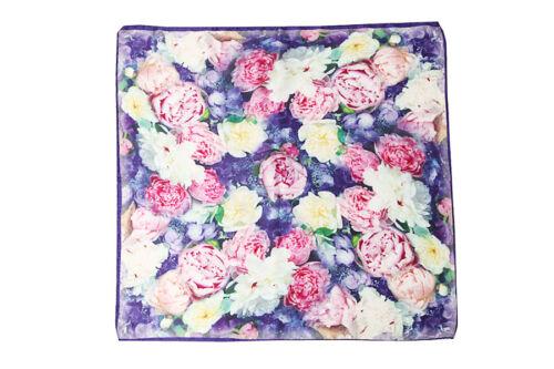"Mid-sized Square Silk Scarf 28/""x28/"" Blue Theme Flower Print ZFD001"