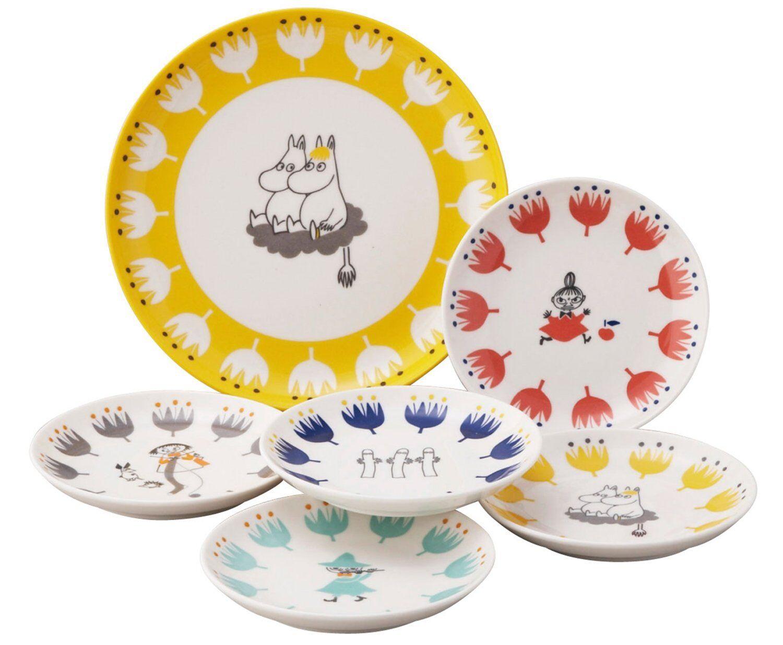 Moomin kukka Berry Set Plate 6 Pieces MM1000-52 140mm 215mm Yamaka from Japan