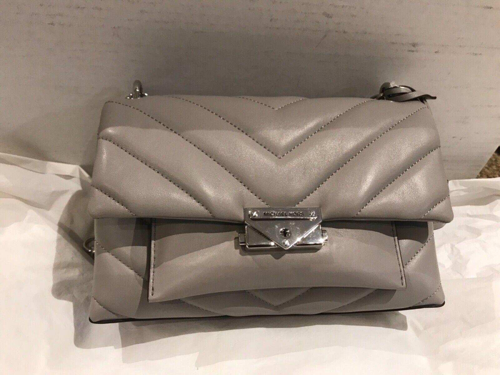 Michael Kors Cece Medium Leather Quilted Shoulder Bag Dark Gray Silver