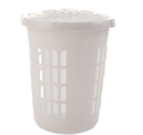 58L Plastic Delux Round Laundry Basket Clothes Hamper Linen Storage Bin Tidy Box